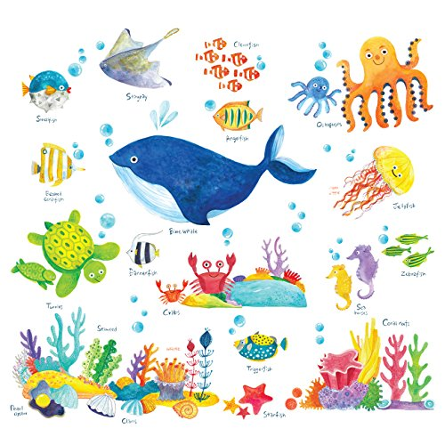 Decowall DS-8027 Under The Sea Kids Wall Stickers Wall Decals Peel and Stick Removable Wall Stickers for Kids Nursery Bedroom Living Room (Small)