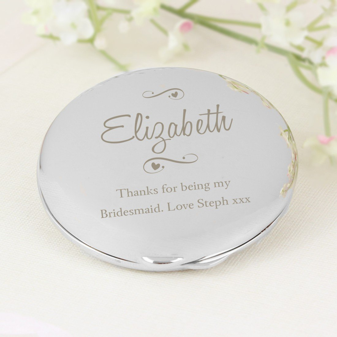 GiftRush Personalised Any Message Swirls & Hearts Compact Mirror