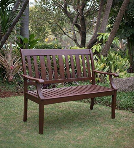 Patio Furniture Mahogany Wood Bench, Natural