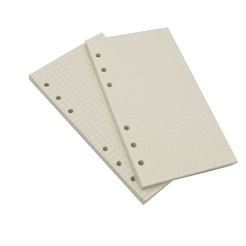 A5Looseleaf cartón de recambios de papel para de Chris Wang, 80hojas, cuadrícula de lunares/cuadrada/rayas/blanco mixto (8,27x 5,59cm), color A5 Square Grid & Dot Grid