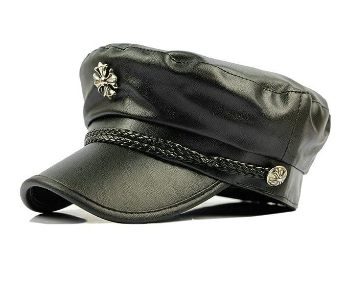 Women PU Leather Visor Beret Newsboy Hat Cap Ivy Newsboy Cap Ascot ... 8b78ba9df02