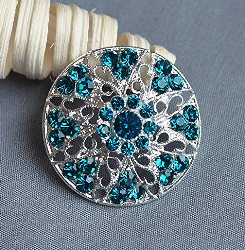 5 Turquoise Blue Rhinestone Button Crystal Embellishment Wedding Brooch Bouquet Hair Comb Shoe Clip Teal Blue BT495 - Teal Rhinestone Hair Clip