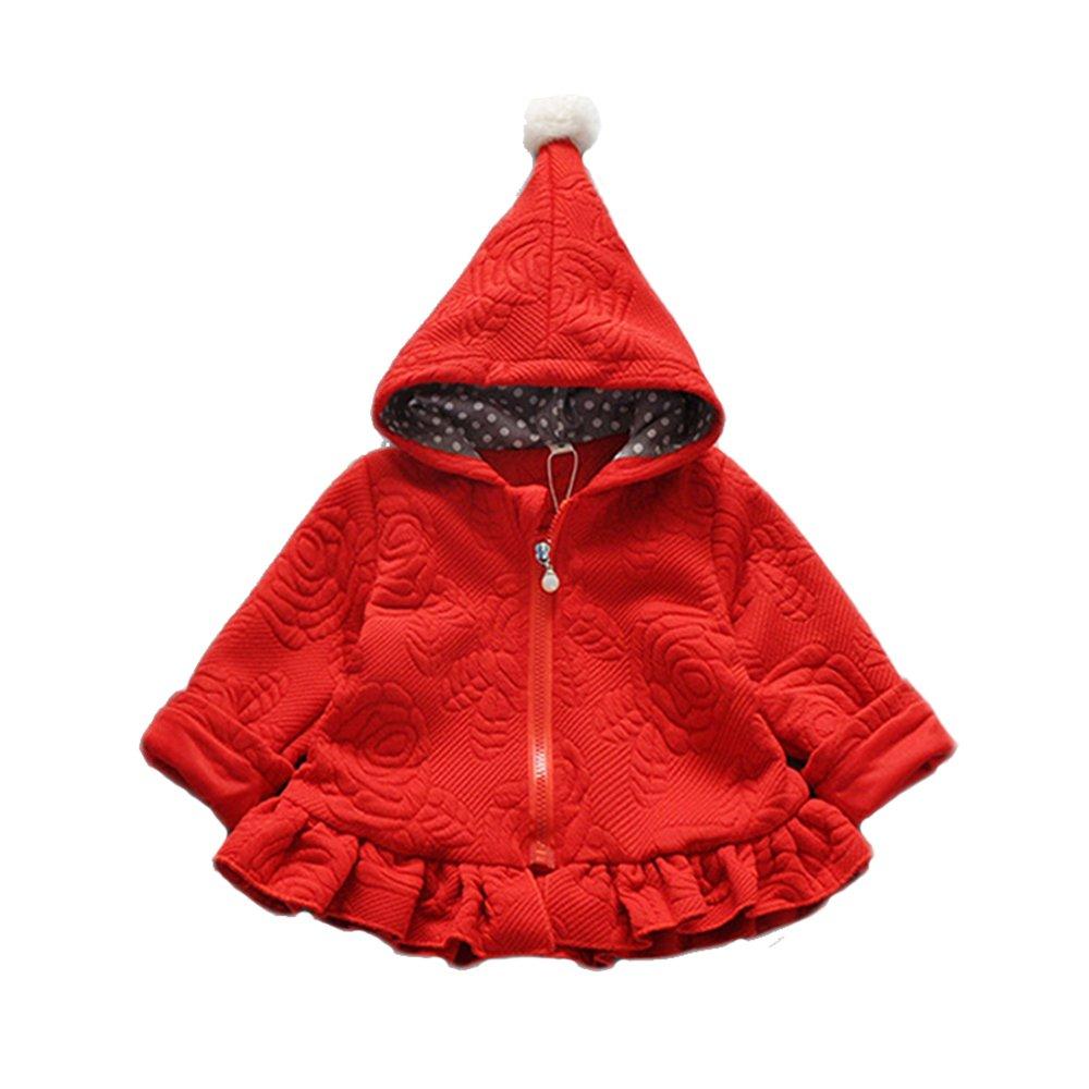 Cinda Little Girl's Long Sleeves Hooded Coat 2-3 Years Red