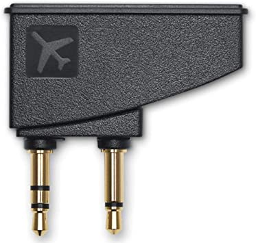 Airplane Airline Headphone Adapter for Bose Quiet Comfort QC15 QC25 QC35 and More Headphones Golden Plated 3.5mm