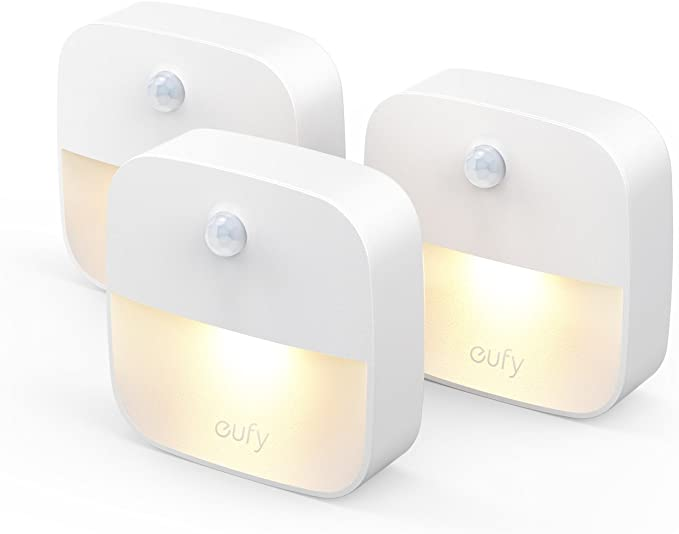 eufy by Anker [Pack de 3] Lumi Veilleuse Lampe Murale autocollante avec LED de Couleur Chaude,détecteur de Mouvement,capteur de lumière,efficacité