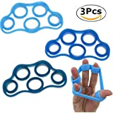 Silicone Finger Tension Band, Chickwin 3PC Hand Grip Finger Exercisers Physical Rehabilitation Training for Fitness Rock Climbing and Stress Relief Portable Spring Resistance