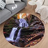 Nalahome Modern Flannel Microfiber Non-Slip Machine Washable Round Area Rug-ntain Waterfall Autumnal Forest Fallen Leaves Moss Cascade Serene View Orange Green Brown area rugs Home Decor-Round 36