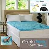 4 Inch Egg Crate Foam Mattress Pad Beautyrest 4-inch Sculpted Gel Memory Foam Mattress Topper Sleep Mask & Comfortable Pair of Corded Earplugs Included (Queen - No Cover)