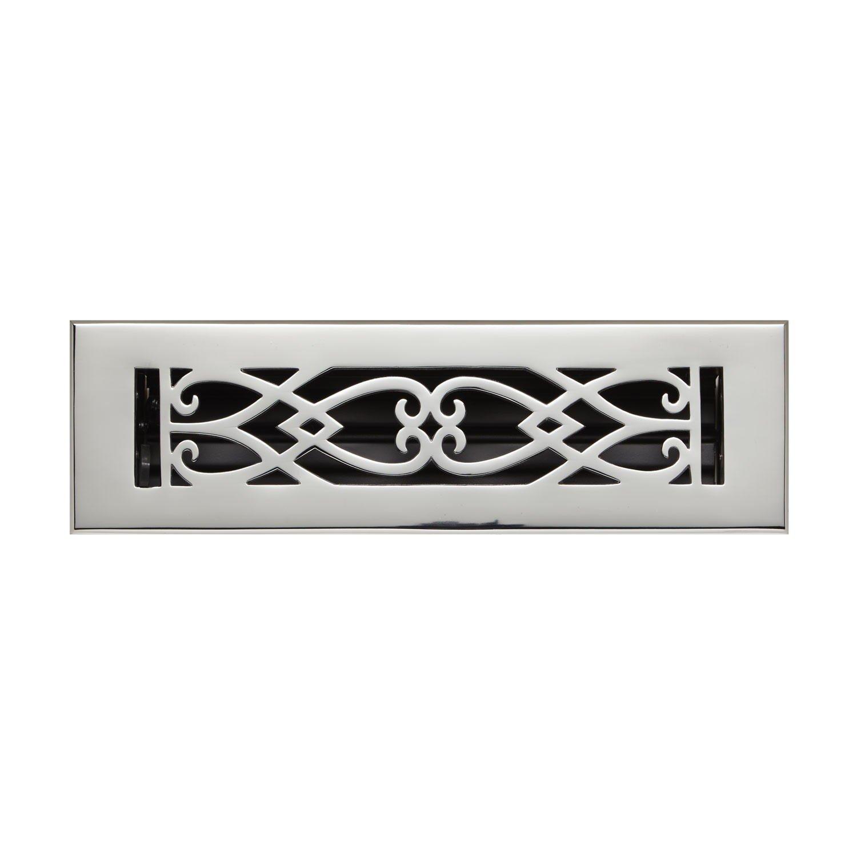 Naiture 4'' x 12'' Brass Floor Register Victorian Style Chrome Finish