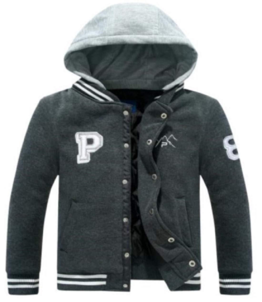 The Polar Club Big Boys' Fleece Varsity Baseball Jacket Removable Hood (Charcoal- L/14-16)