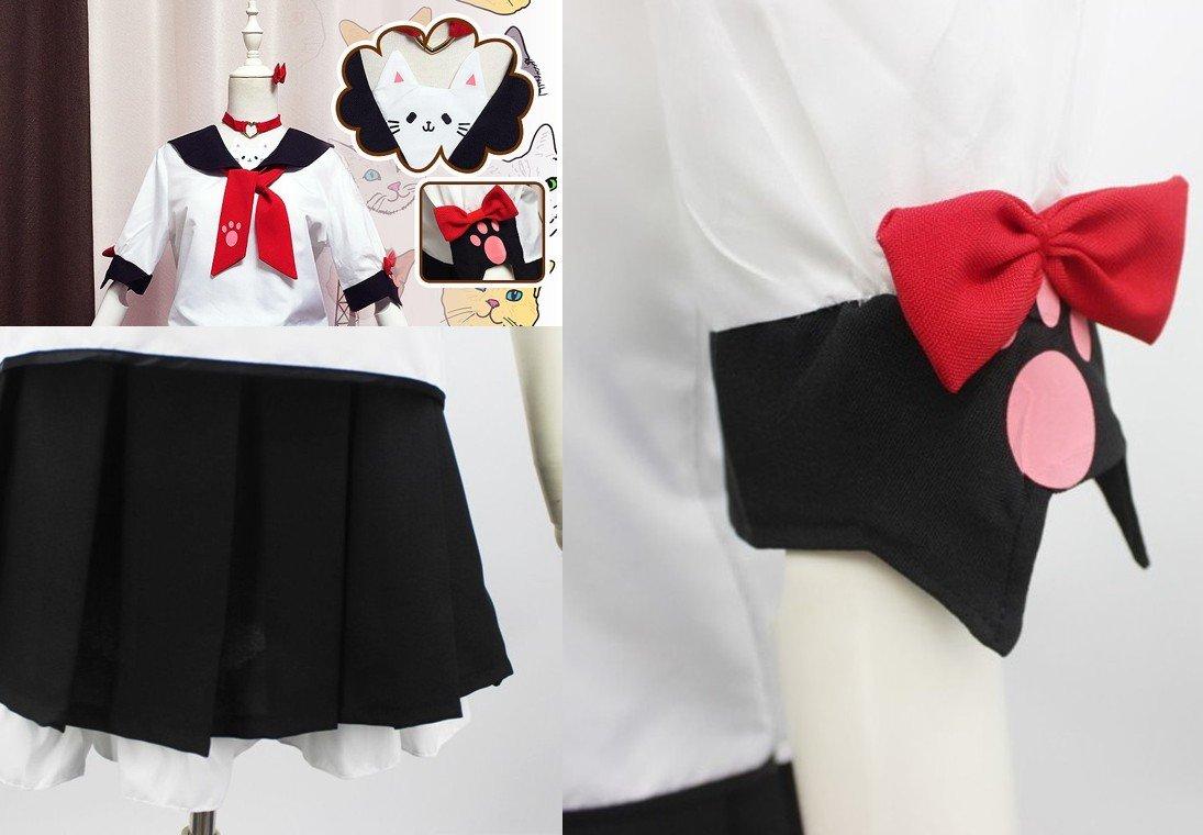 SSJ Japanese Sailor Uniform JK Cute Cat Girls High Neko Atume Style Costume White by SSJ (Image #3)