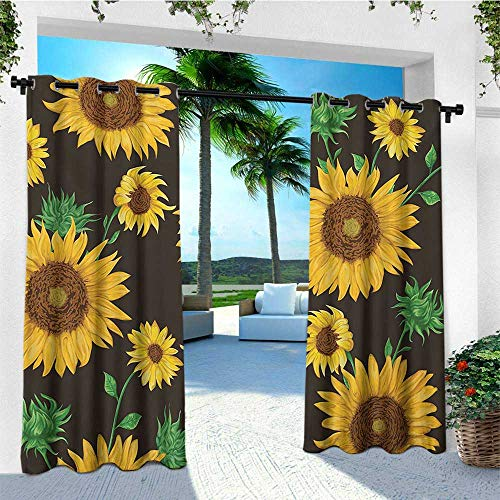 leinuoyi Sunflower, Porch Curtains Outdoor Waterproof, Earth Tones Floral Buds Leaves Spring Nature Vintage Pattern, for Patio Waterproof W72 x L96 Inch Seal Brown Earth Yellow Green ()