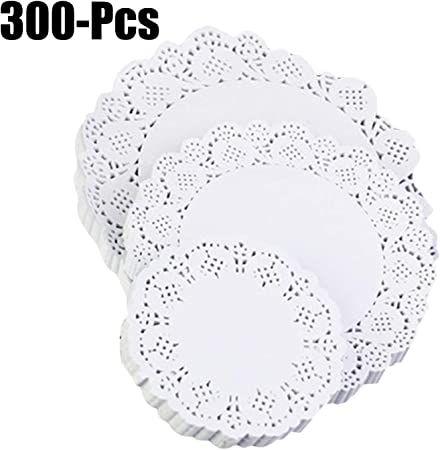 100 Pcs White Lace Round Paper,Lace Circular Hollow Oil Paper Cushion Cake Dessert Tableware Pads