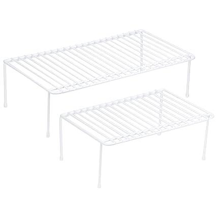 Decorrack Set Of 2 Counter Helper Wire Shelf Kitchen Cabinet Shelf Organizer Closet And Pantry Storage Extra Rack Freezer Instant Space Organizer