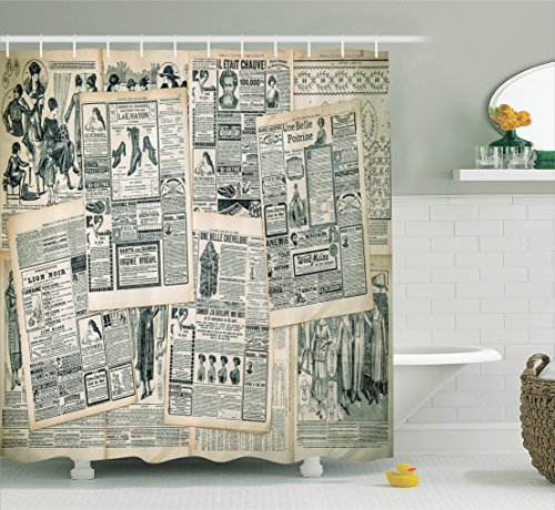 Vintage Newspaper - Ambesonne Antique Decor Collection, Vintage Styled Layered Sepia-Toned Newspaper Print with Old-Fashioned Illustrations , Polyester Fabric Bathroom Shower Curtain, 75 Inches Long, Black Cream