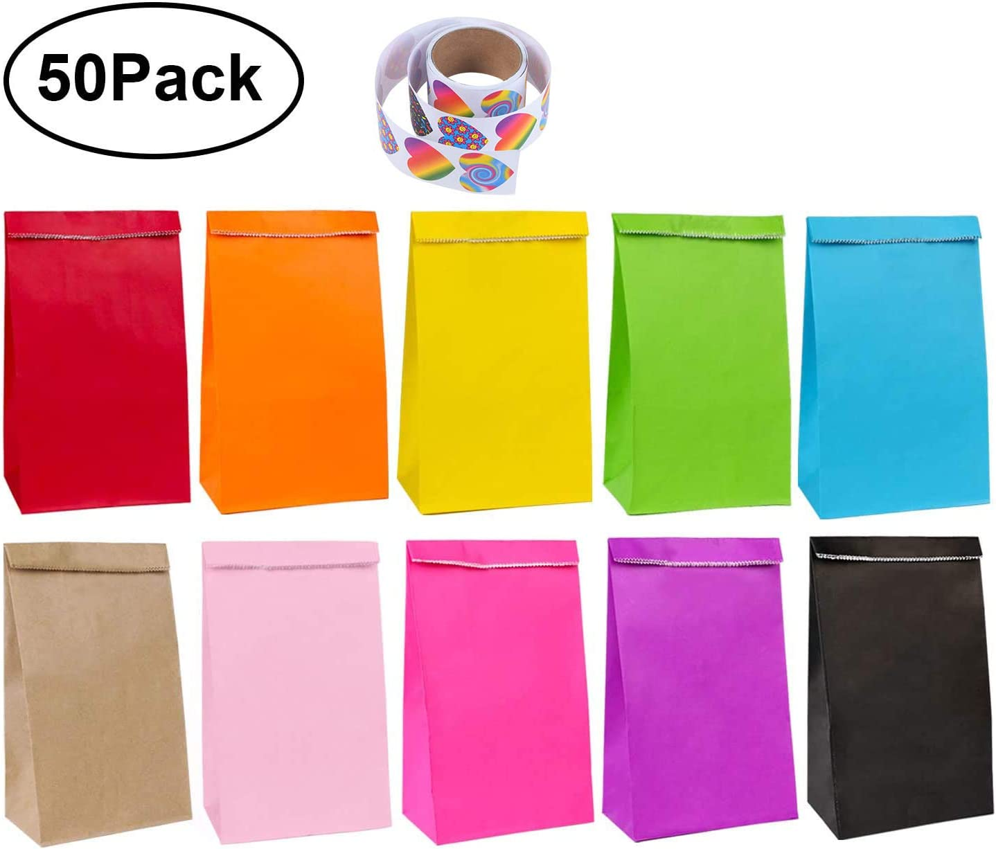 Celebrations Kraft Bags for Kids Party Birthday 50 Pcs Rainbow Gift and Sweet Bags Halloween Baby Shower Christmas flintronic Paper Bags