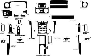 Rvinyl Rdash Dash Kit Decal Trim for Ford Mustang 2005-2009 - Diamond Plate