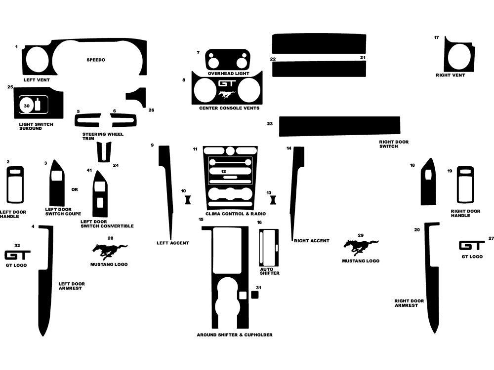 Rdash Dash Kit Decal Trim for Ford Mustang 2005-2009 / Shelby GT500 2007-2009 - Wood Grain (Mahogany) Rvinyl