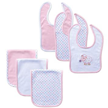 Amazon Com Hudson Baby Bib And Burp Cloth Set 6 Piece Pink 0 12