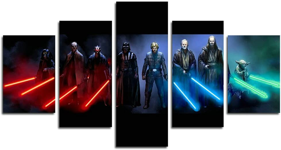 AtfArt 5 Piece Jedi and Sith Star Wars Canvas Painting for Living Room Home Decor Canvas Art Wall Poster (No Frame) Unframed HB3 50 inch x30 inch…