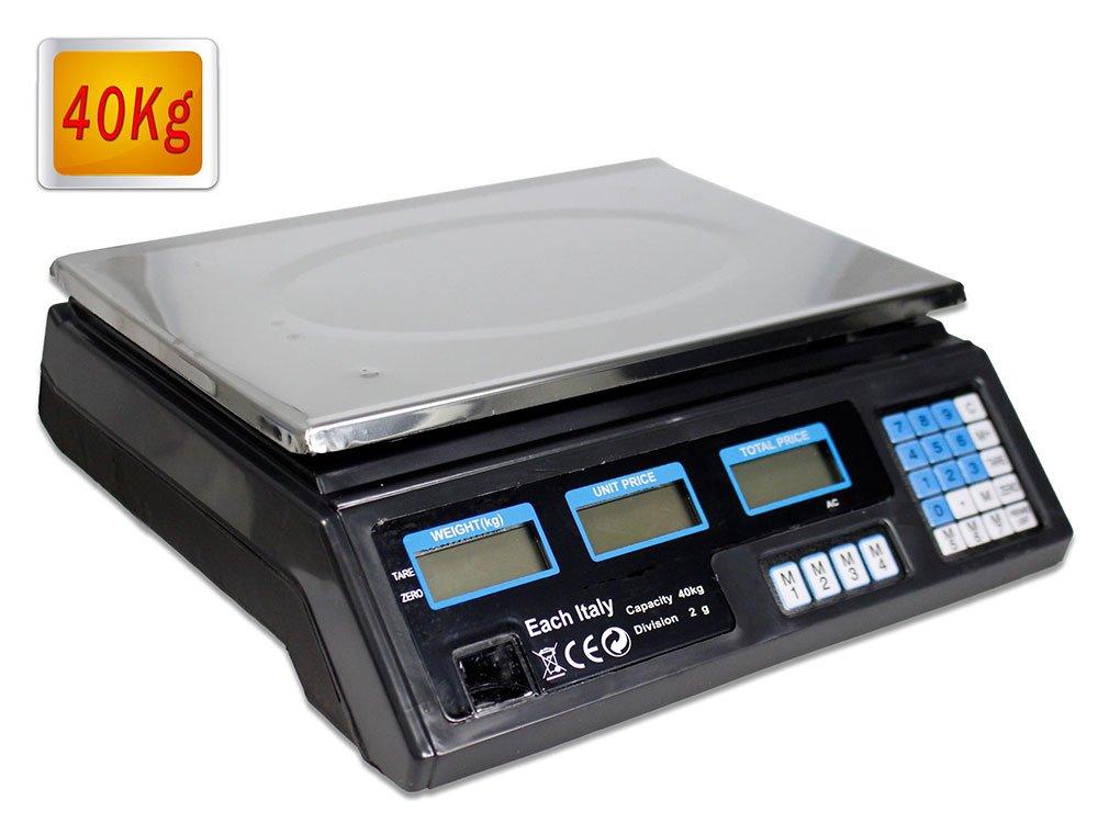 Vetrineinrete® Bilancia digitale elettronica peso max 40 kg 6 display retroilluminati divisione 2 gr peso minimo 200 gr