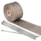 16.4' Basalt Fibre Beige Exhaust Shield Tape Header Heat Wrap Internal Combustion Engines Pipe Insulation Stainless Steel Ties for Motorcycle Car