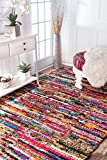 Cheap nuLOOM MGNM06A Braided Chindi Cotton Michiko Rug, 7′ 6″ x 9′ 6″, Multi