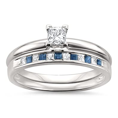 Amazon Com 14k White Gold Princess Cut Diamond Blue Sapphire