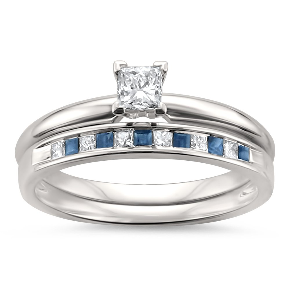 14k White Gold Princess-cut Diamond & Blue Sapphire Wedding Band Ring Set (1/2 cttw, I-J, I2-I3), Size 7