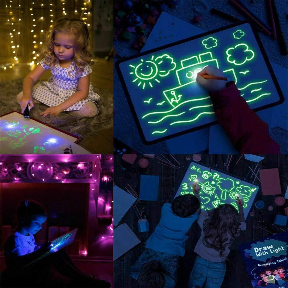 A4: 23.2 /× 1.5 /× 33.2 CM Disegna Con La Luce Divertente Tavolo Da Disegno Tavolo Luminoso Tavolo Da Disegno Per Bambini Con Graffiti Magici Incandescente Tavolo Da Disegno Per Bambini