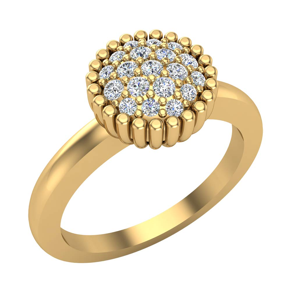 18K Yellow Gold Fashion Stacking Ring Cluster Diamond Bands 0.21 Carat Total Weight (Ring Size 7)