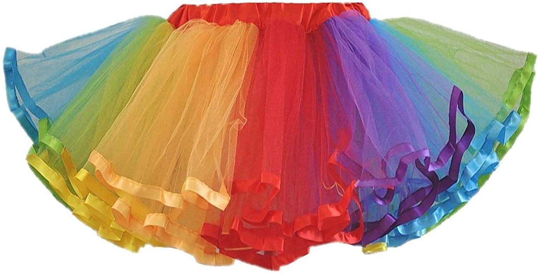 Womens Rainbow Tutu Skirt Layered Tulle Skirt Adult Halloween Costumes: Clothing