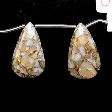 Beautiful Gold Accents 22605 Finest Quality Copper Calcite Drop Almond Shape 31x20mm Drilled Beads Single Piece