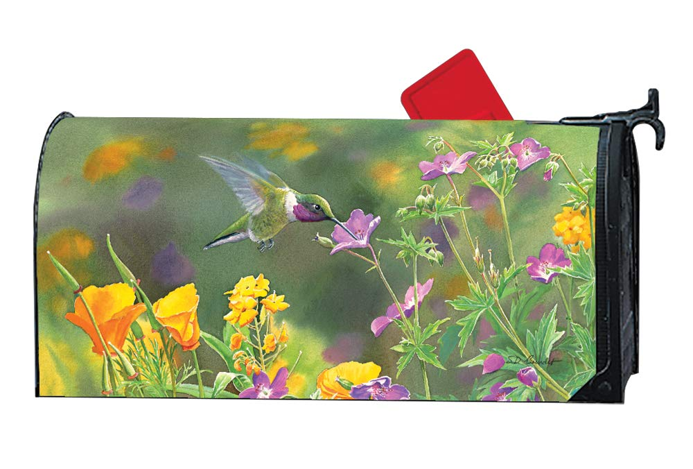 MailWraps Studio M Hummingbird Hover Decorative Spring Summer Oversized, The Original Magnetic Mailbox Cover, Made in USA, Superior Weather Durability, Large Size fits 8W x 21L Inch Mailbox