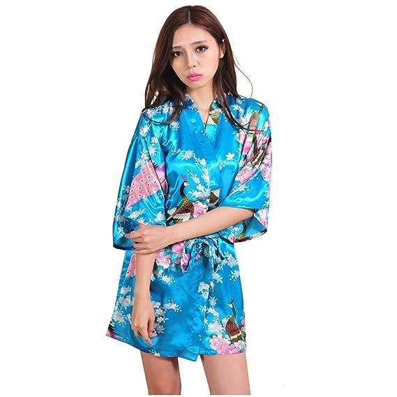 WYSMOL Ropa de Dormir Erótica de Pavo Real y Flor para Mujer Sexy Batas y Kimonos de Satén Albornoces Cortos, Azul S: Amazon.es: Ropa y accesorios