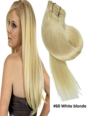 Clip In Haarverlaengerung Echthaar Extensions 60 Weiss Blonde 55 Cm