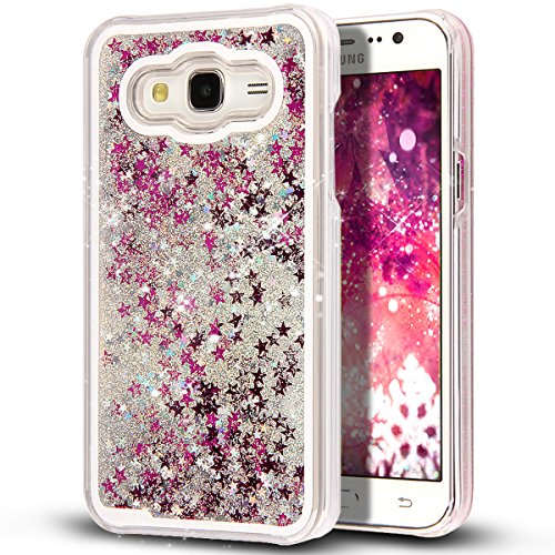 Protective Hard Silver Case Stars - Galaxy J7 Case,J7 Case,NSSTAR Galaxy J7 [Liquid] [Glitter] Case,Creative Design Flowing Liquid Floating Bling Glitter Sparkle Stars Clear Hard Case for Samsung Galaxy J7 SM-J700 (Silver)