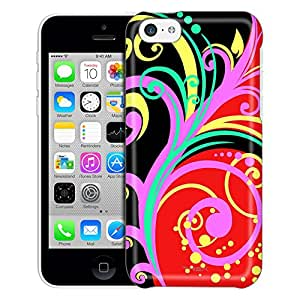 Apple iPhone 5C Case, Slim Fit Snap On Cover by Trek Colorful Branches on Red and Black Trans Case