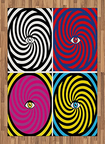 7.5' Center Panel (Psychedelic Area Rug by Ambesonne, Pop Art Style Hypnotic Design Swirling Patterns with Eye in Centre Dizzy Focus, Flat Woven Accent Rug for Living Room Bedroom Dining Room, 5.2 x 7.5 FT, Multicolor)