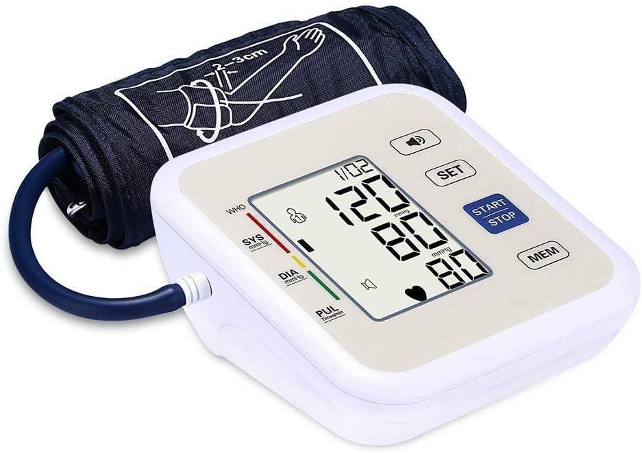 Tensiómetro de Brazo Monitor de presión arterial automático exacto superior del brazo digital BP Manguito Máquina del ritmo cardíaco del pulso esfigmomanómetro de Monitoreo en Casa y Hospital de Salud