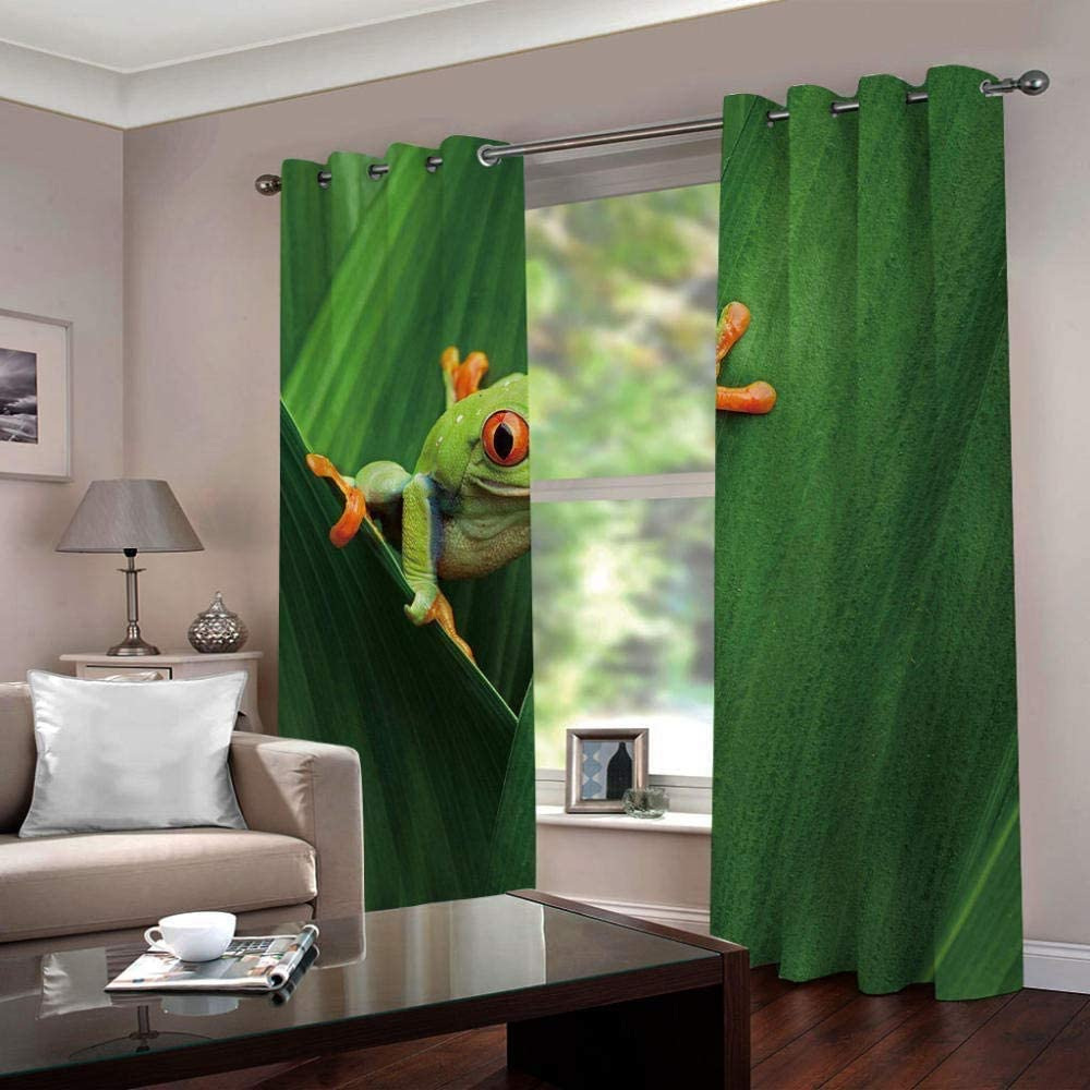 Children/'s Living Room and Bedroom Dark Grommet Curtains with 2 Panels Frog 42 x 63 inch Cute Red-Eyed Frog Art 3D Printing Patterns NUOBIKJ Bedroom Green Curtains