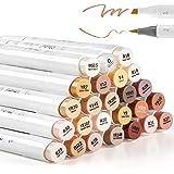 24 Huid-Tone Kleuren Alcohol Markers, Ohuhu Penseel & Beitel, Sketch Art Marker, op alcohol gebaseerde penseelmarkers…