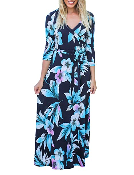 DUNEA Women's V-Neck 3/4 Sleeve Floral Print Faux Wrap Long Maxi Dress with  Pockets and Belt