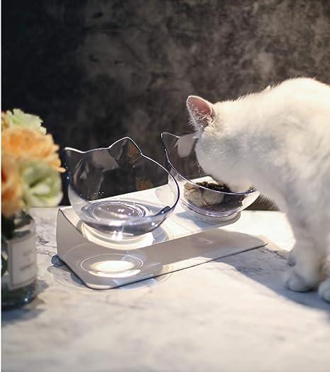 WhalePrime comedero Doble para Gatos con Soporte Elevado, Cuenco ...