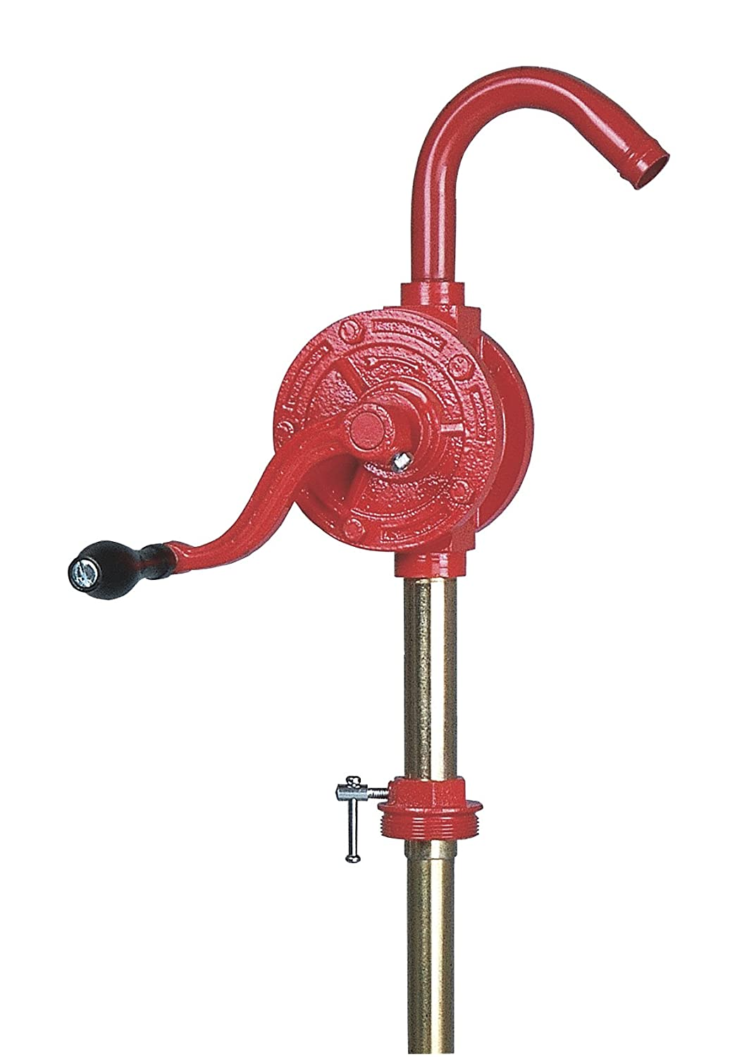 Groz Rotary Barrel Pump | Dual Directional | Cast Iron | 1-inch Pump Inlet | NBR Seals | Steel Discharge Spout | 3-piece Rigid Suction Tube (44052)