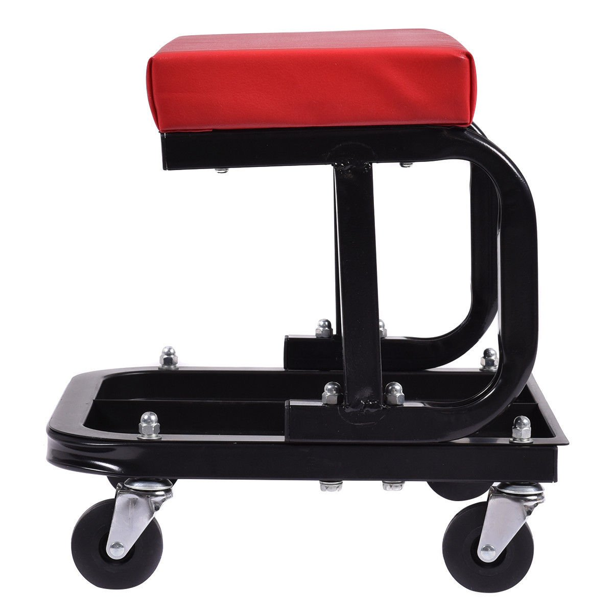 Rectangular Shape Goplus Rolling Mechanic Seat Adjustable Rolling Seat Creeper Pneumatic Padded Chair with Tray for Repair Shop Garage