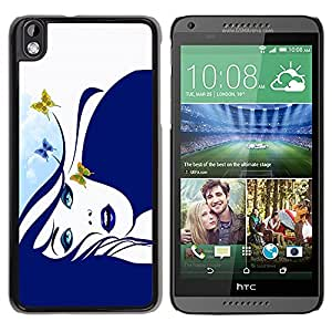 LECELL -- Funda protectora / Cubierta / Piel For HTC DESIRE 816 -- Blue Butterfly Girl --