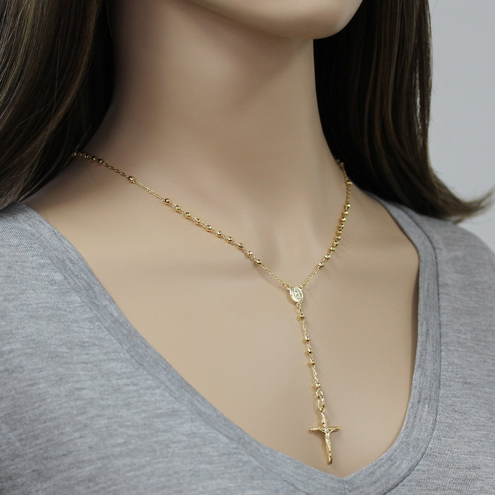14K Gold Tri-color, Yellow or White Gold Chain 3mm DC Bead Rosary Chain Necklace (16, 18, 20, 24 Inches), 16'' by Double Accent (Image #3)