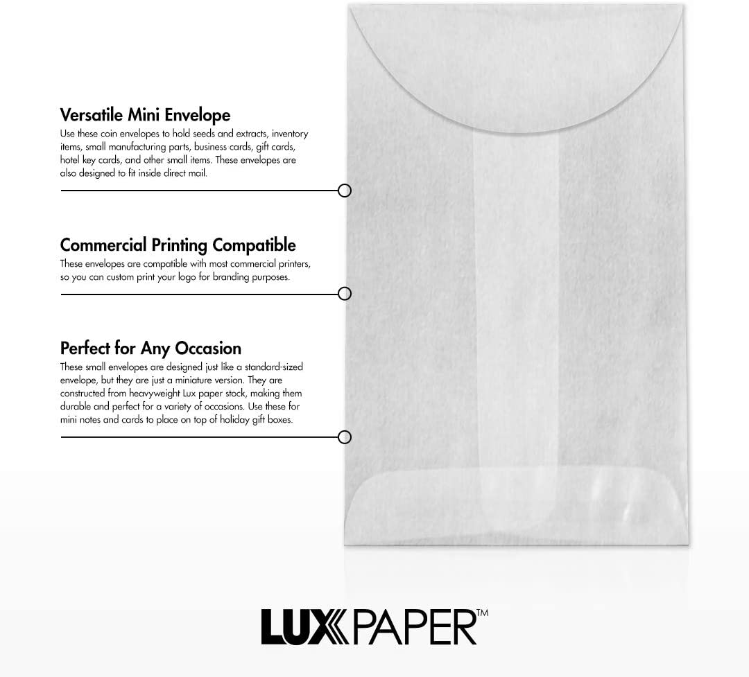 Stamps LUXPaper #1 Coin Envelopes in 68 lb Envelopes for Coin Collections w//Moistenable Glue 500 Pack Envelope Size 2 1//4 x 3 1//2 and More Garden Seeds White White Birch Woodgrain