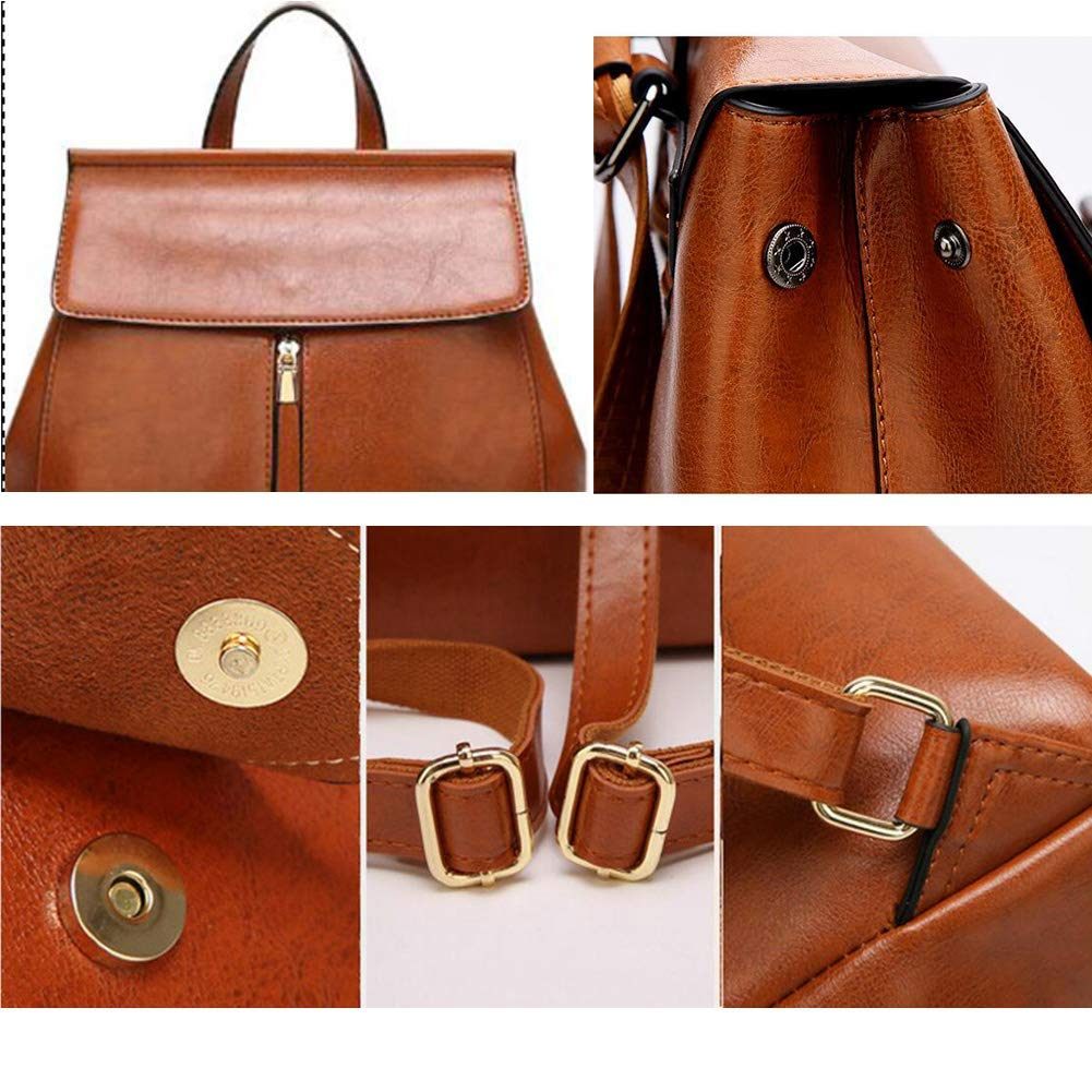 Color : Brown TangFeii Luc Ladies Genuine Leather Leather 3 Way Back Fashionable Shoulder Bag Womens Backpack Commuter School OL Commuter Waterproof Handbag Bag